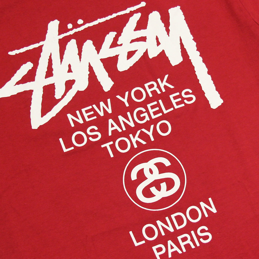 Stussy World Tour T Shirt in Dark Red - Print