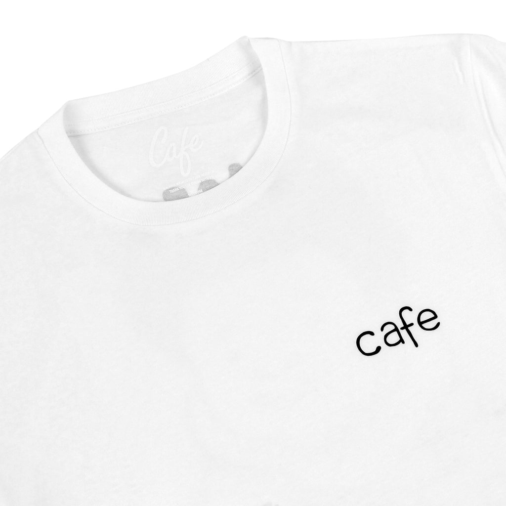 Skateboard Cafe Doodle T Shirt in White - Detail