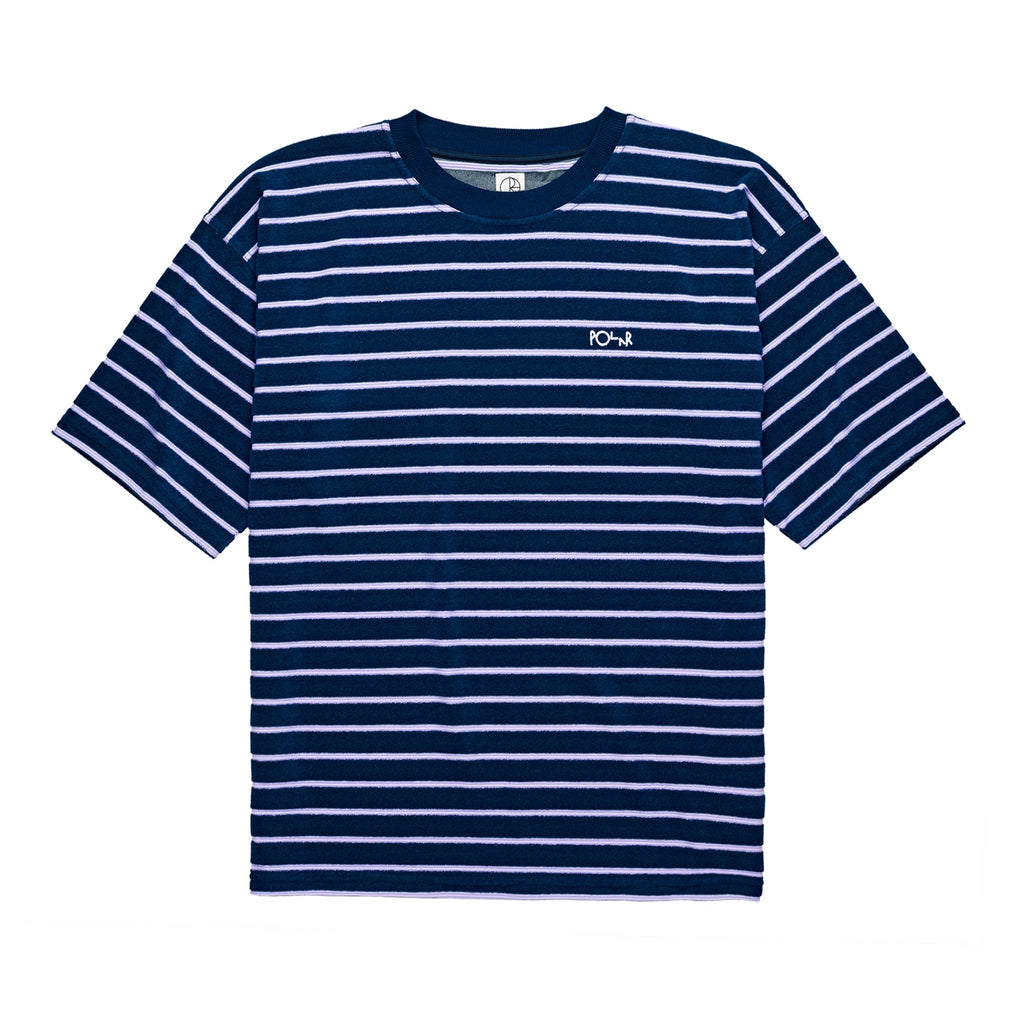Polar Skate Co Striped Terry Surf T Shirt in Navy / Violet