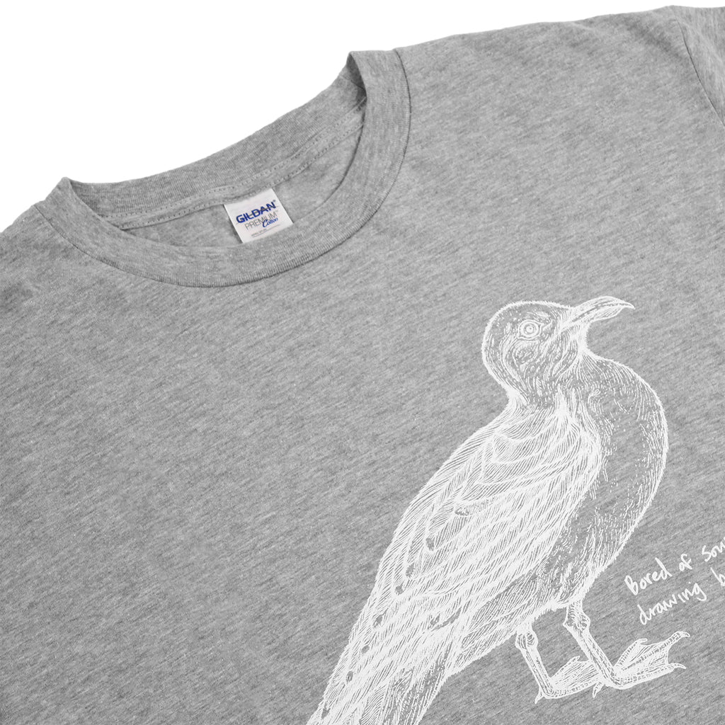 Bored of Southsea Seagull T Shirt in White on Heather Grey - Detail