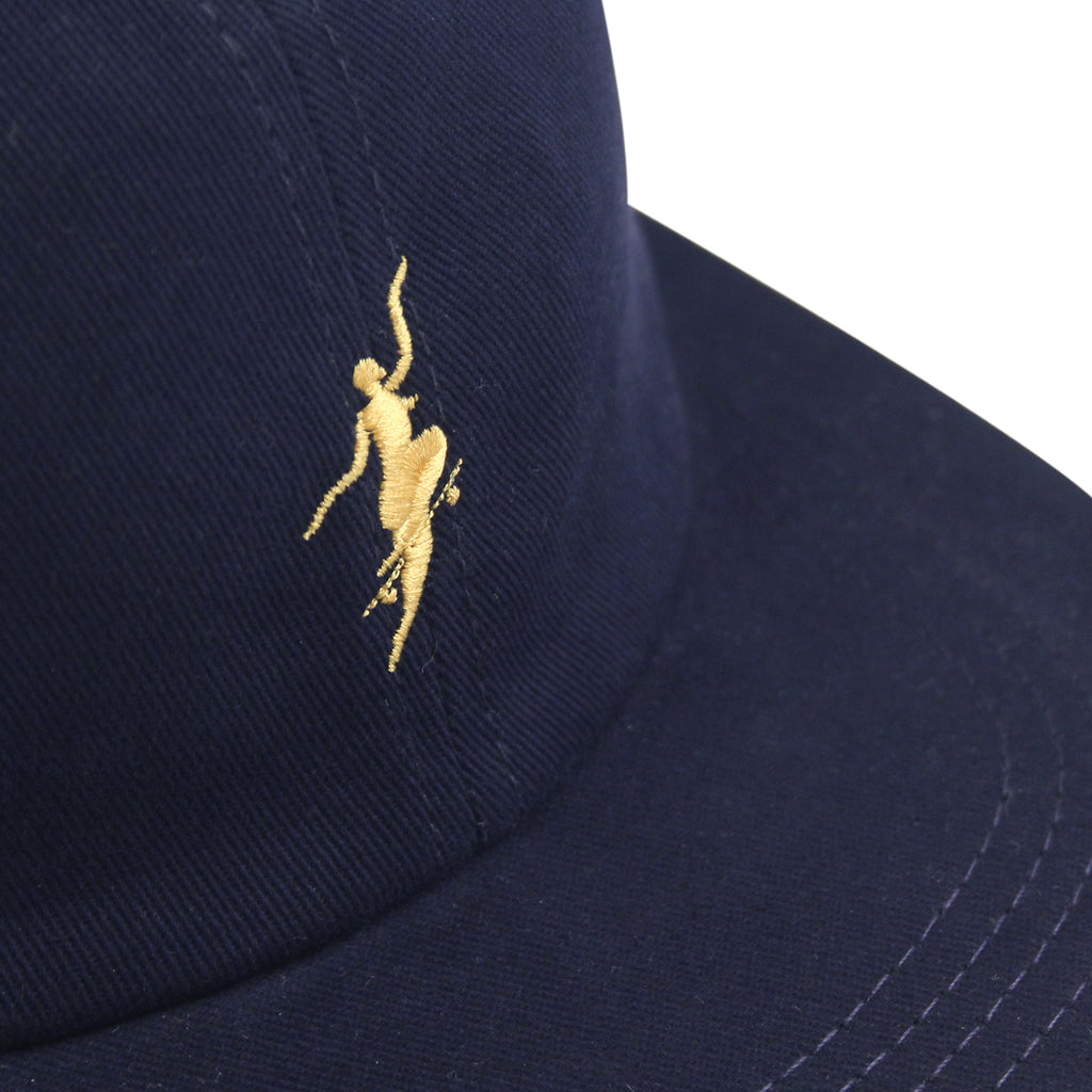 Polar Skate Co No Comply Cap in Navy / Yellow - Details