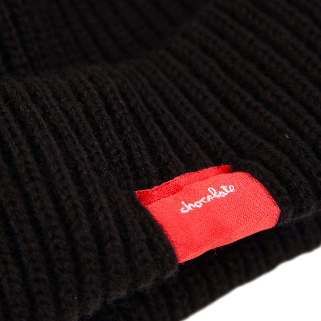 Bored of Southsea x Chocolate Skateboards Chunk The World Beanie in Black - Label