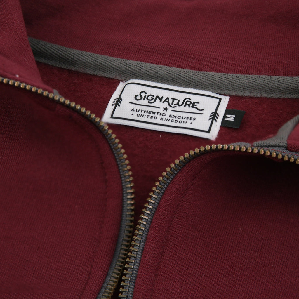 Signature Clothing Classic Logo Embroidered 1/4 Zip in Maroon - Neck