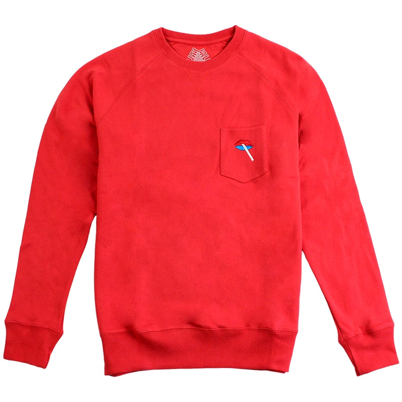 Palace Lips Pocket Crew in Red