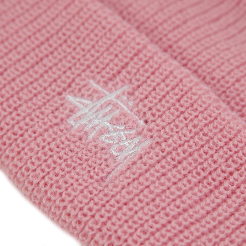 Stussy Basic Cuff Beanie in Pink - Embroidery