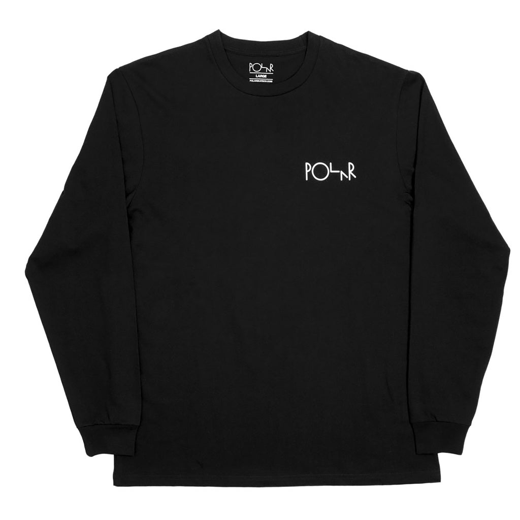 Polar Skate Co Fill Logo Behind The Curtains L/S T Shirt in Black / White - Front