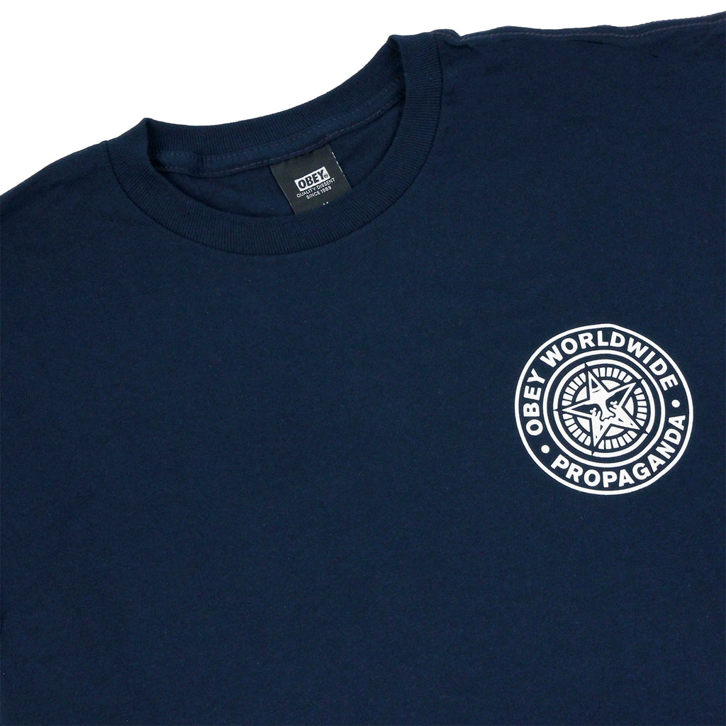 Obey Clothing Obey Worldwide Seal T Shirt in Navy - Detail