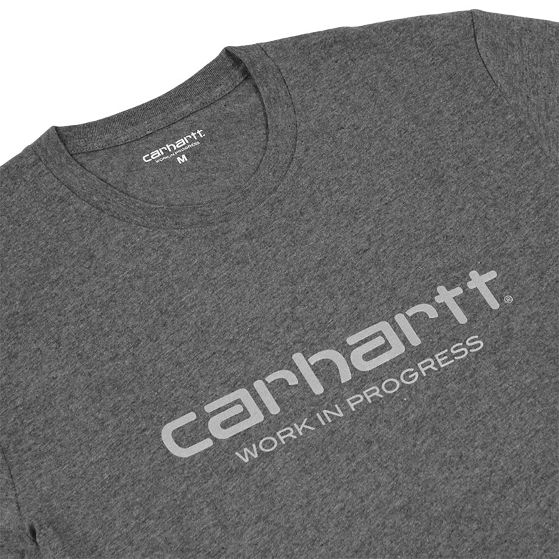 Carhartt WIP Script T Shirt in Dark Grey Heather / Reflective Grey - Detail