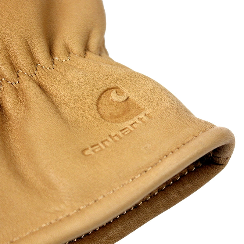 Carhartt WIP Lined Leather Gloves in Camel - Embossing