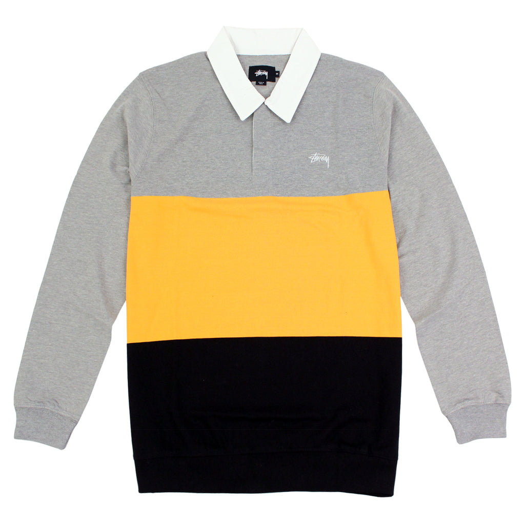 Stussy 3 Tone Polo in Heather Grey