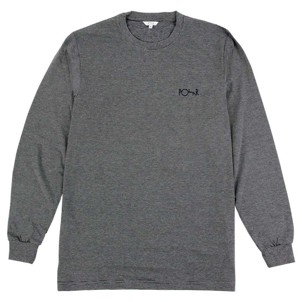 Polar Skate Co Micro Strip L/S T Shirt in Grey / Navy