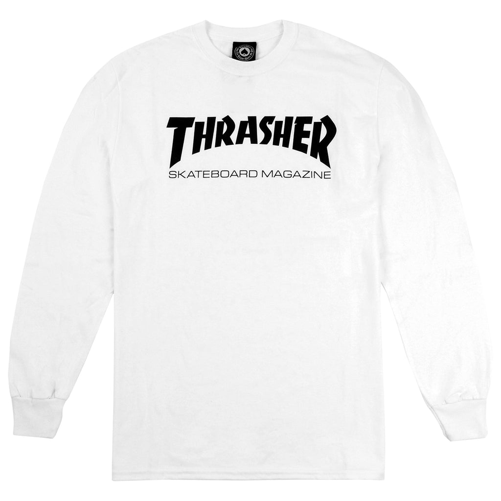 Thrasher Mag Logo L/S T Shirt in White/Black