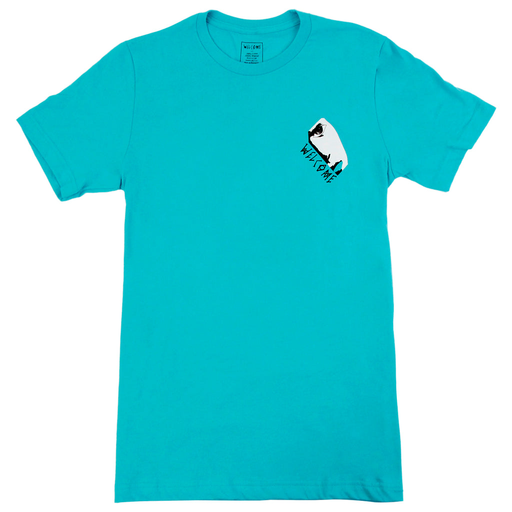 Welcome Skateboards Miller Faces T Shirt in Teal - Front