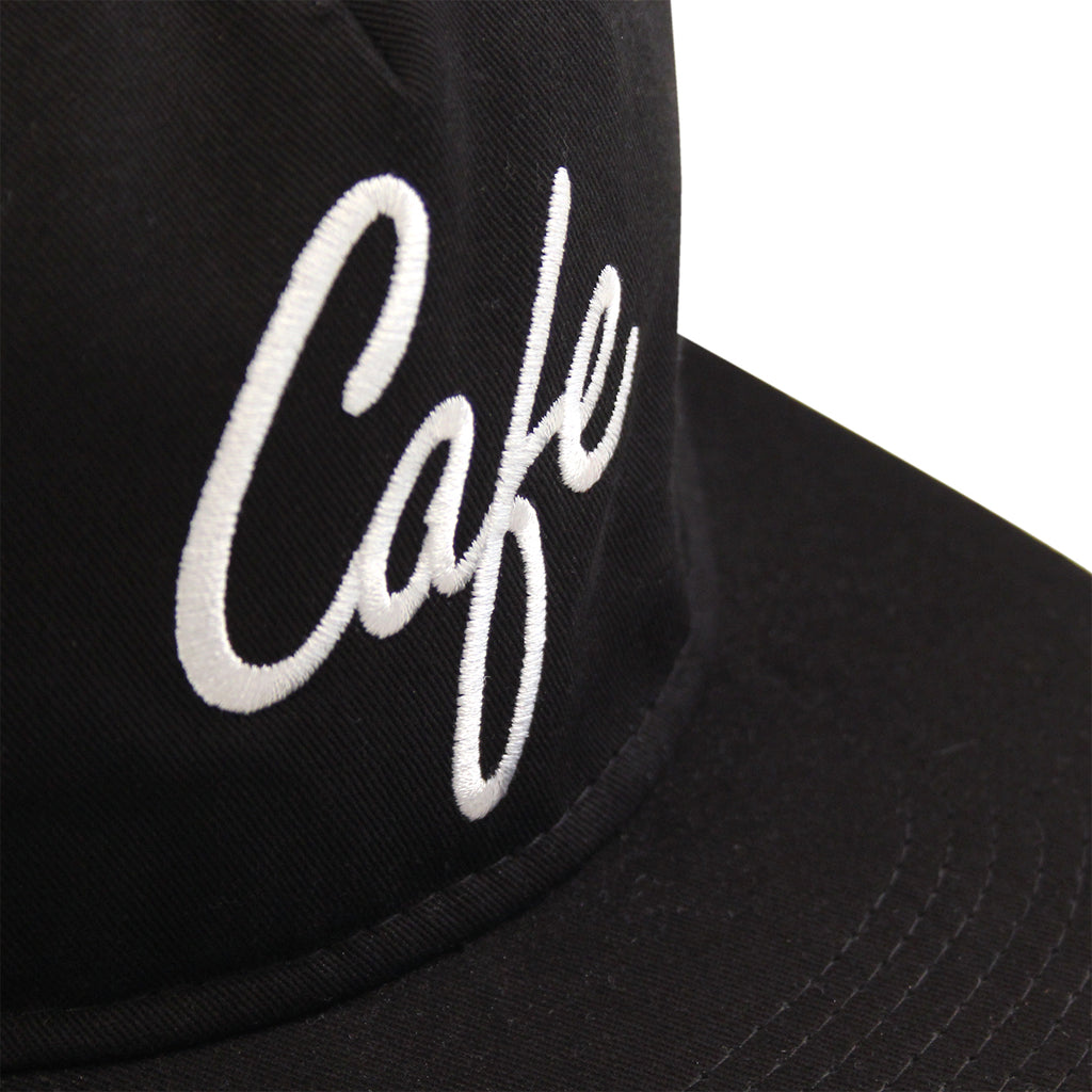 Skateboard Cafe Diner Script Deconstructed 5 Panel Cap in Black - Logo