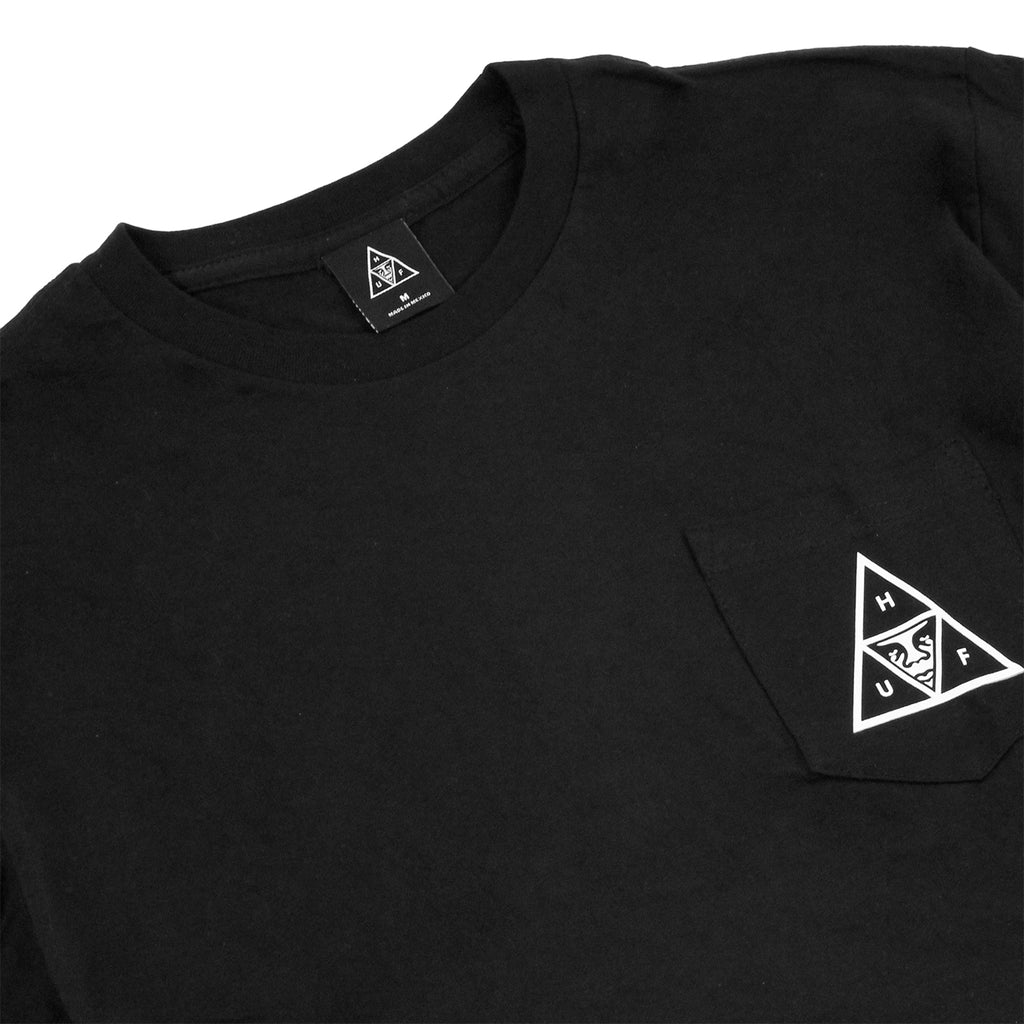 HUF x Obey Triple Triangle Pocket T Shirt in Black - Detail