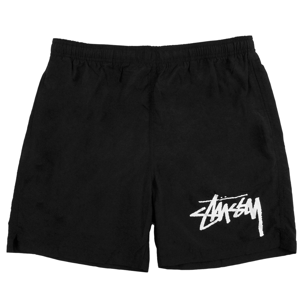 Stussy Stock Elastic Waist Trunk Shorts in Black