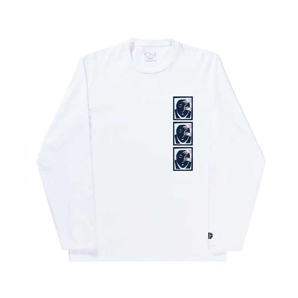 Polar Skate Co Three Face L/S T Shirt in White