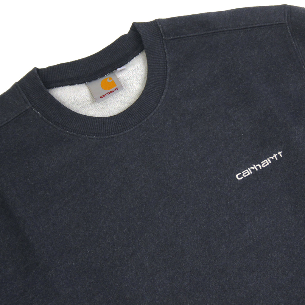 Carhartt WIP Script Embroidery Sweat in Navy Heather / White - Detail