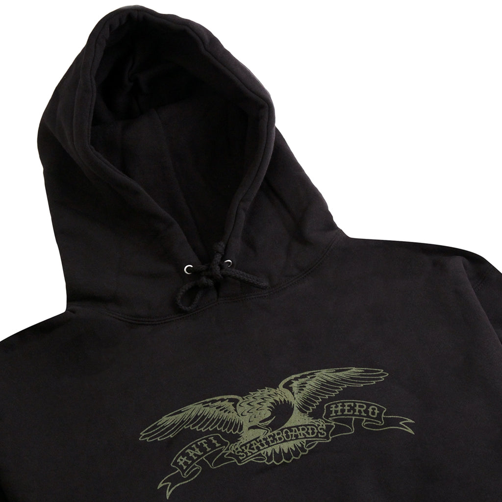 Anti Hero Skateboards Basic Eagle Hoodie in Black / Army Print - Detail