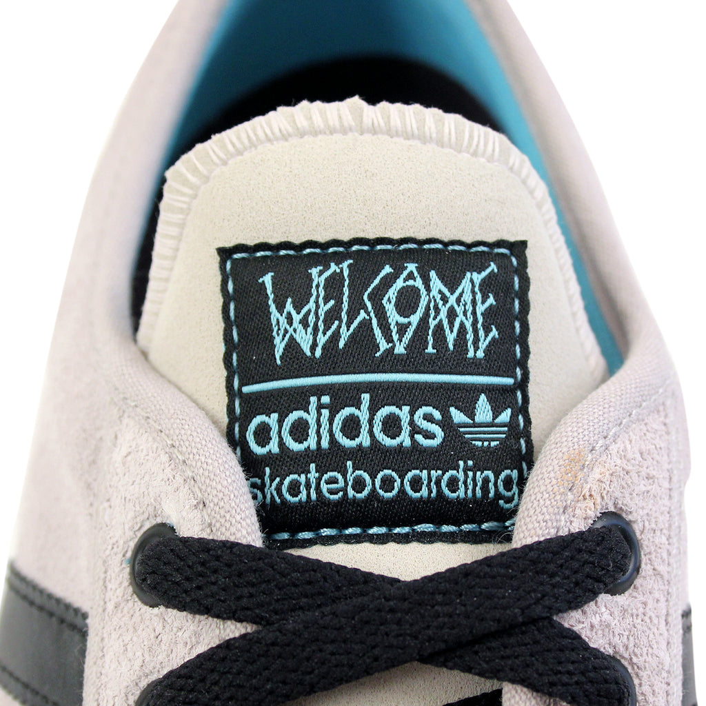 Adidas Skateboarding Adi Ease ADV Shoes in White / Core Black / Light Aqua - Tongue