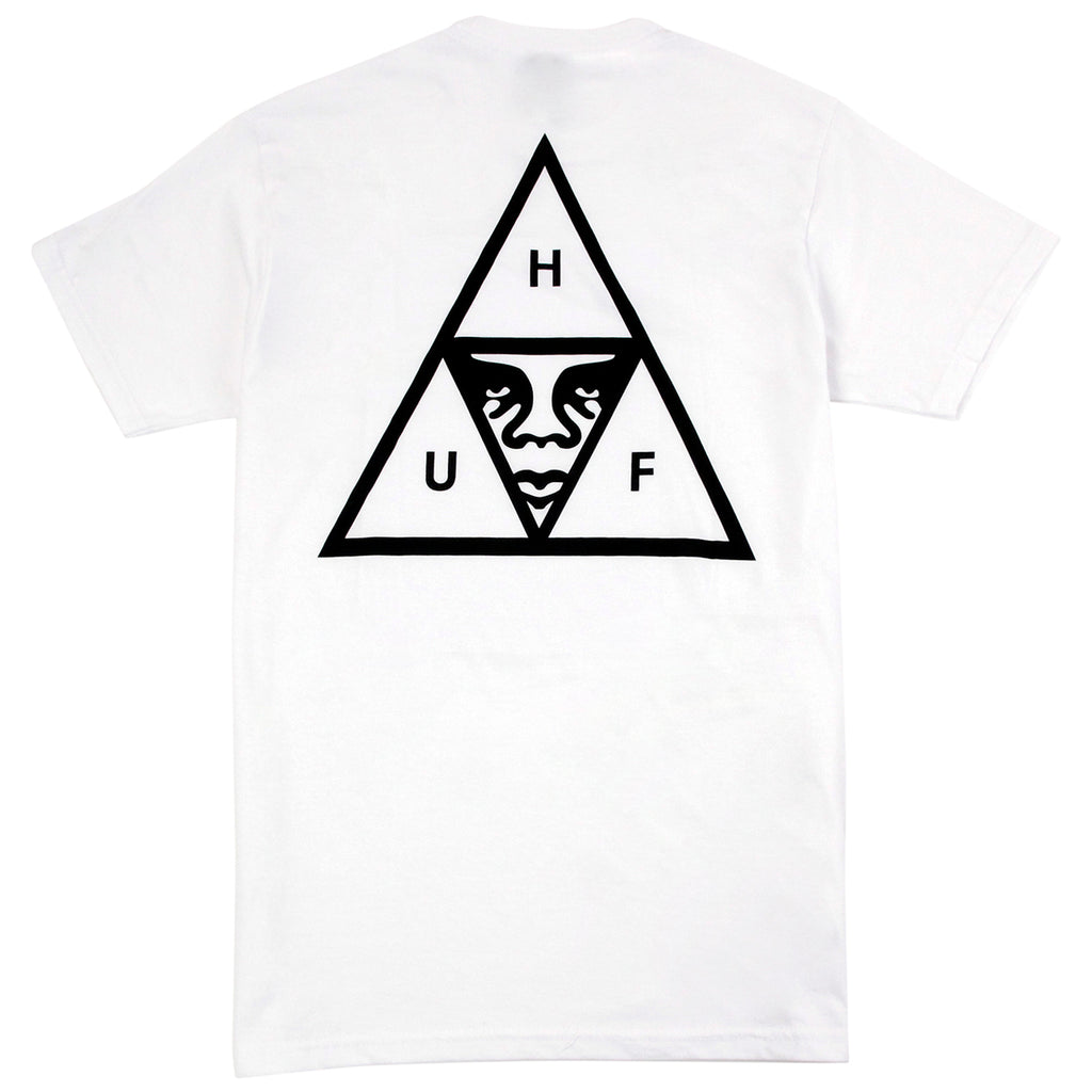 HUF x Obey Triple Triangle Pocket T Shirt in White - Back