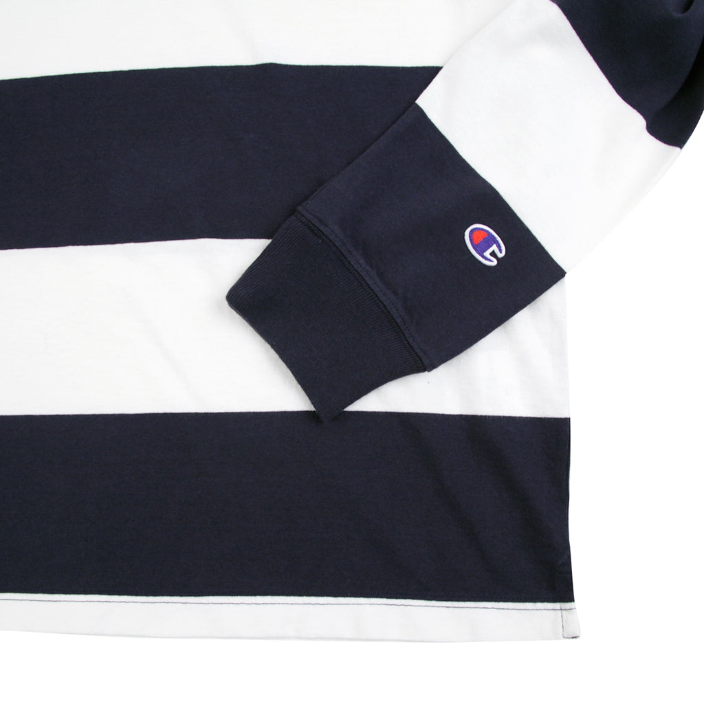Champion Reverse Weave L/S Polo Shirt in Navy / White - Cuff