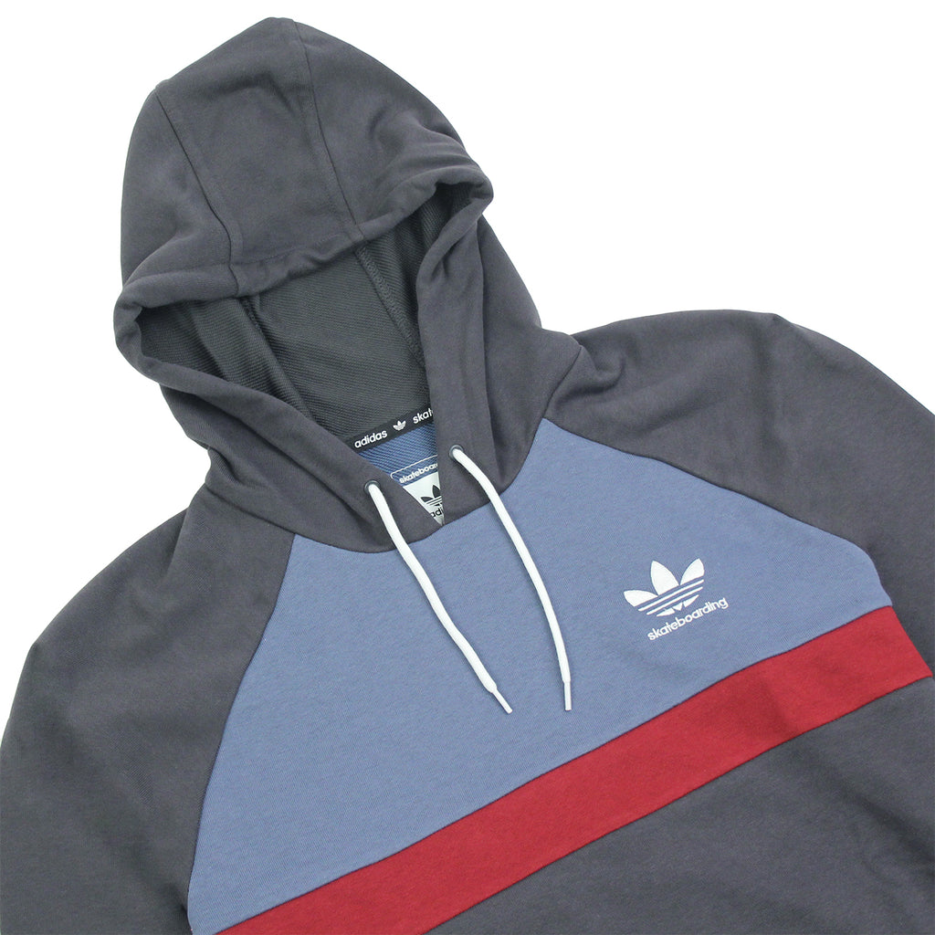 Adidas Skateboarding ADV Blocked Hoodie in Carbon / Faded Ink / Burgundy - Detail