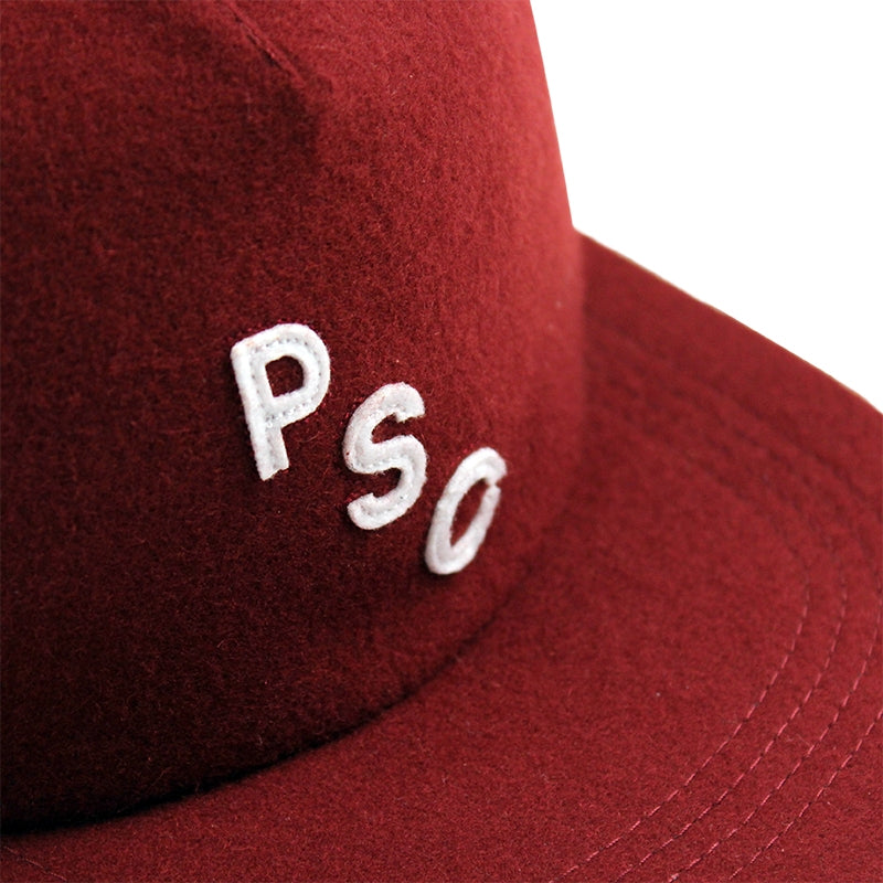 Polar Skate Co PSC 5 Panel Cap in Burgundy - Detail
