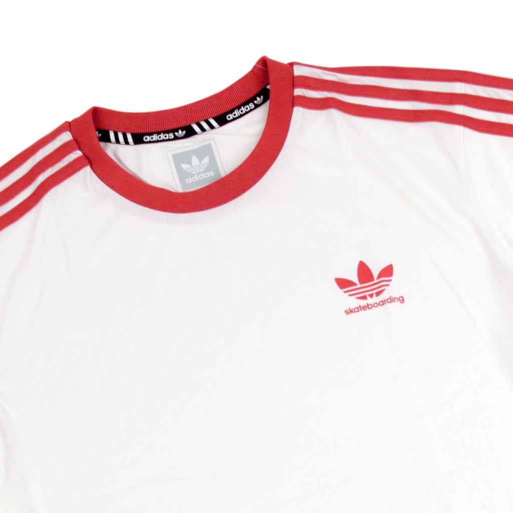 Adidas Skateboarding Clima Club Jersey in White / Trace Scarlet - Detail