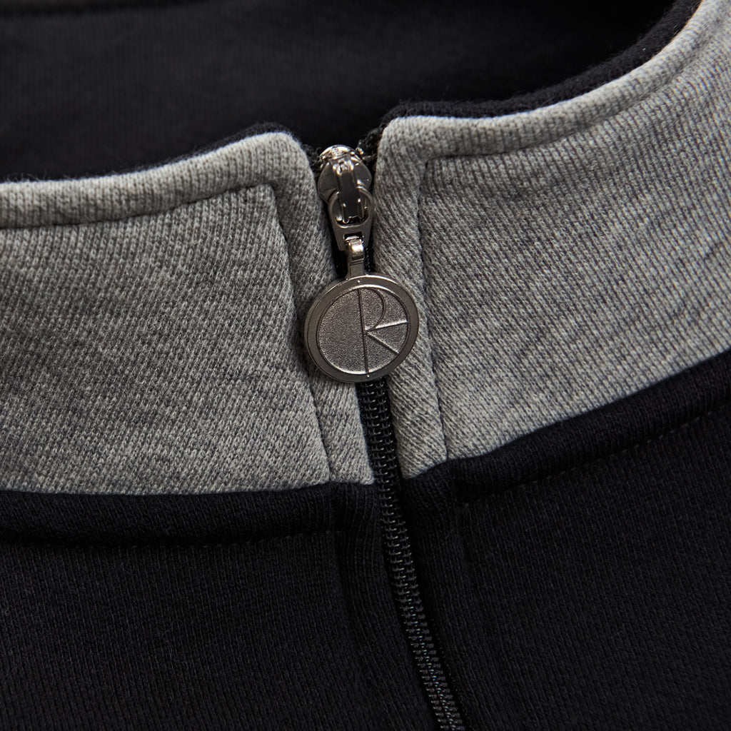Polar Skate Co Block Zip Sweatshirt in Black / Heather Grey - Collar