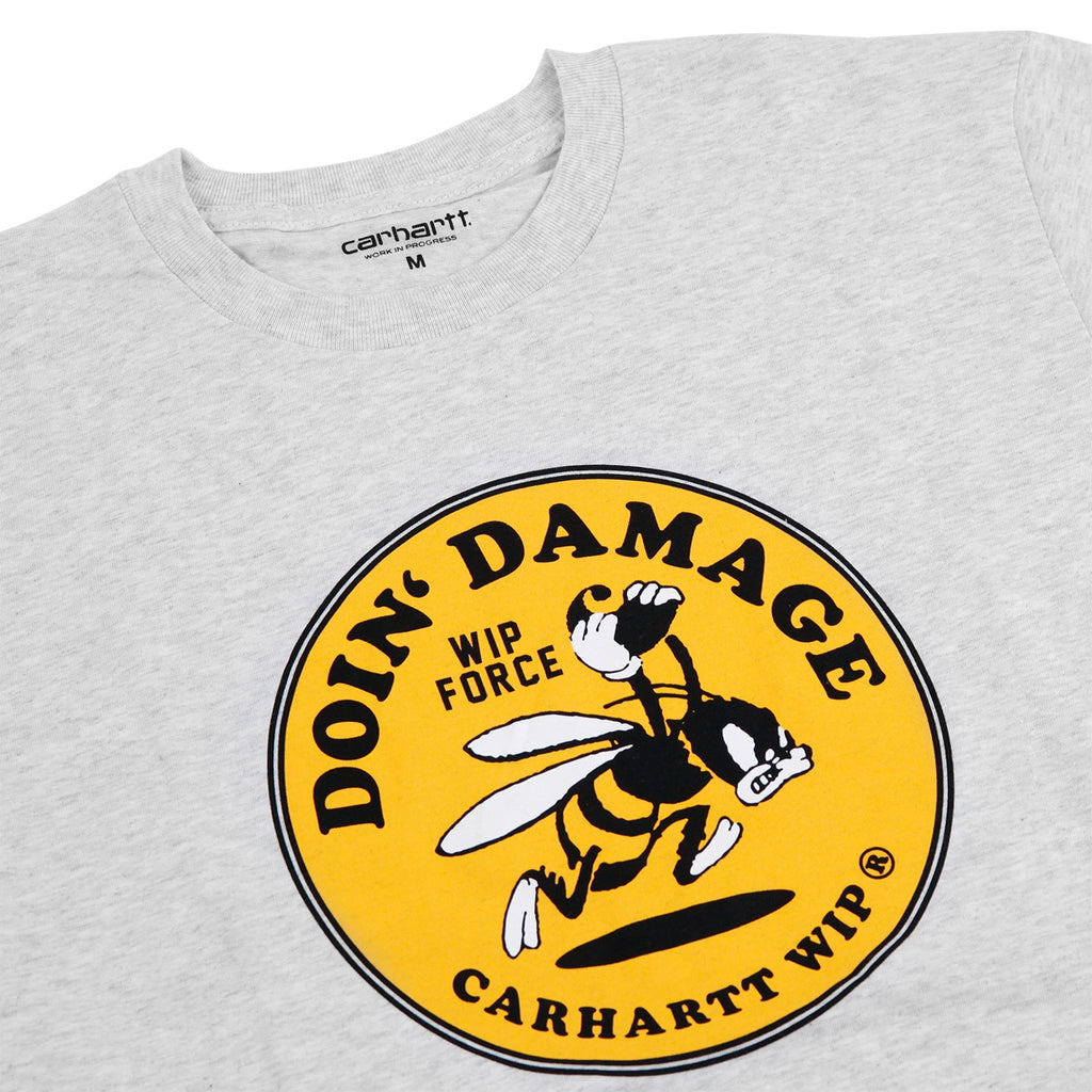 Carhartt WIP Force T Shirt in Ash Heather - Detail
