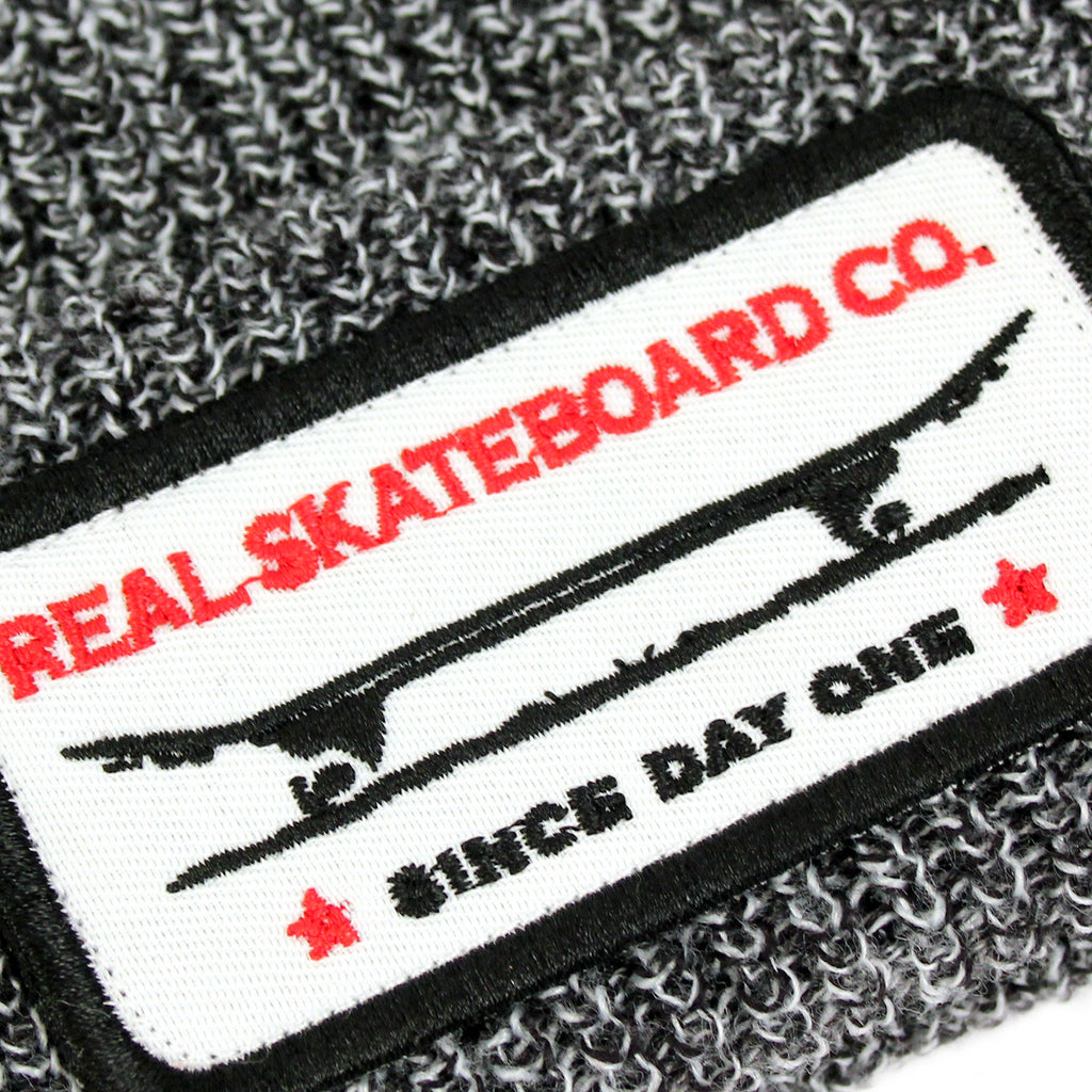 Real Skateboards Self Medicated Cuff Beanie in Grey Marled - Patch