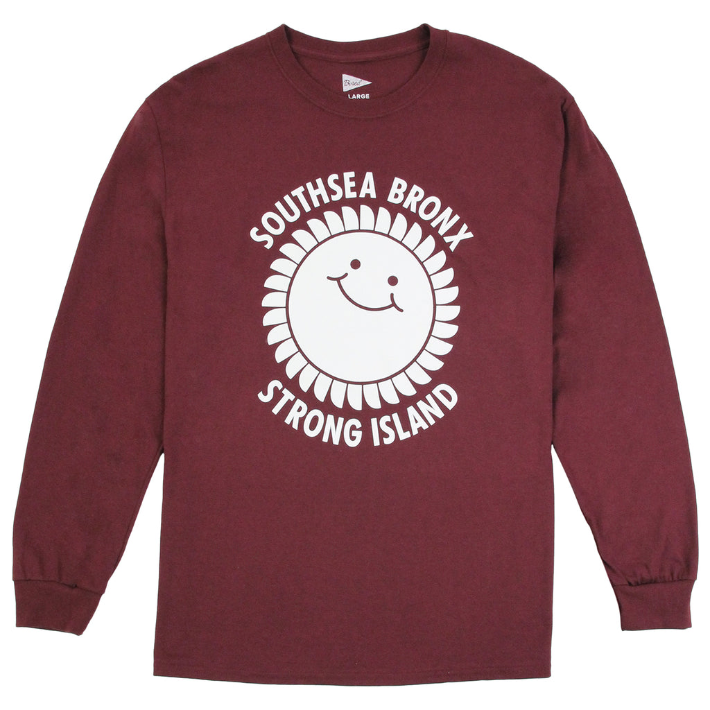 outhsea Bronx Strong Island Long Sleeve T Shirt in White on Maroon
