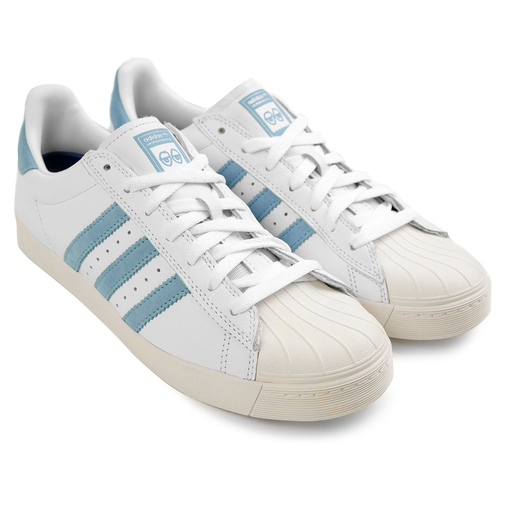 Adidas Skateboarding Superstar Vulc x Krooked Shoes in Footwear White / Customized / Chalk White - Pair