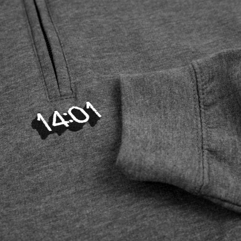 14:01 Skateboard Co Logo Quarter Zip Sweatshirt in Dark Grey Heather - Detail 2