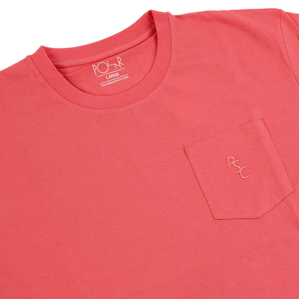 Polar Skate Co PSC Pocket T Shirt in Coral - Detail