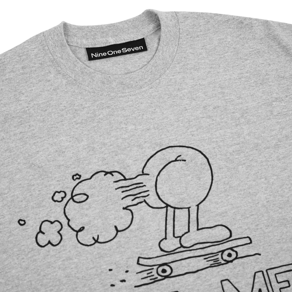 Call Me 917 Fart T Shirt in Heather Grey - Detail