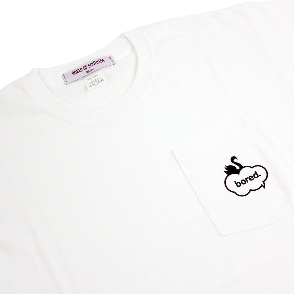 Bored of Southsea Swan Pocket T Shirt in White - Detail