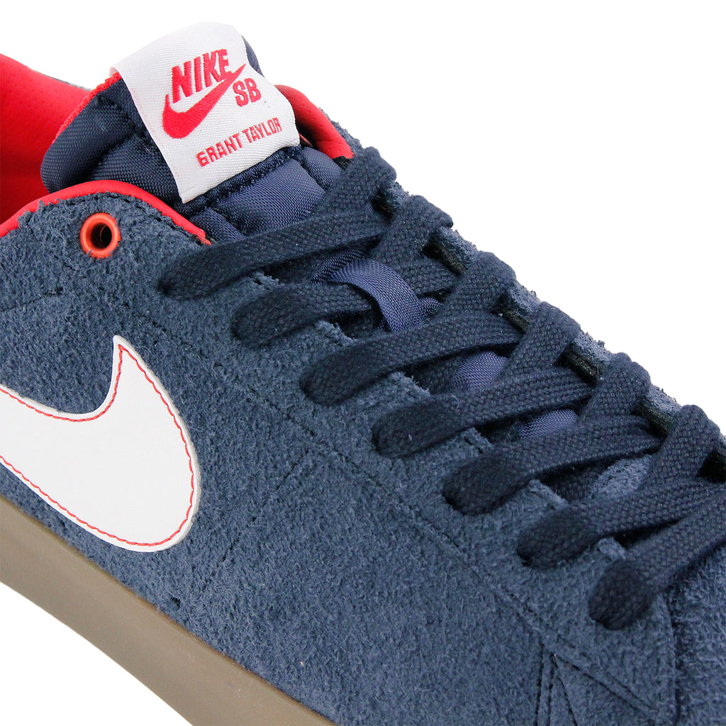 Nike SB Blazer Low Grant Taylor Shoes in Obsidian / White-University Red-Gum Light Brown - Detail