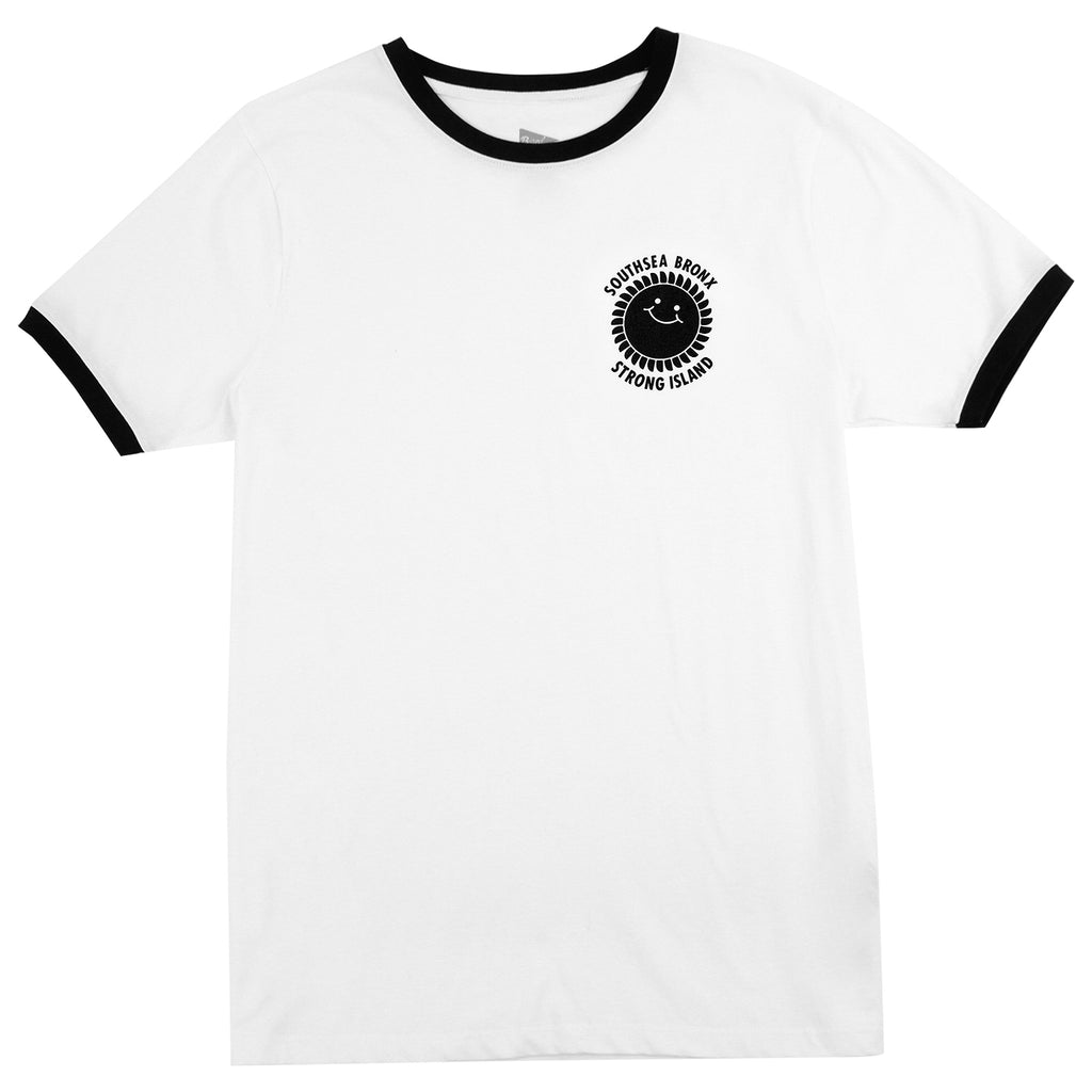 Southsea Bronx Strong Island Ringer T Shirt in White / Black