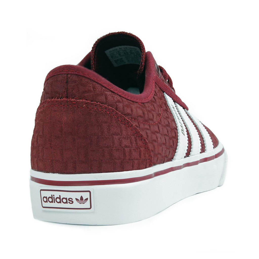 Adidas Skateboarding 'Daewon' Adi Ease Shoes in Collegiate Burgundy / Footwear White / Gold Metallic - Heel