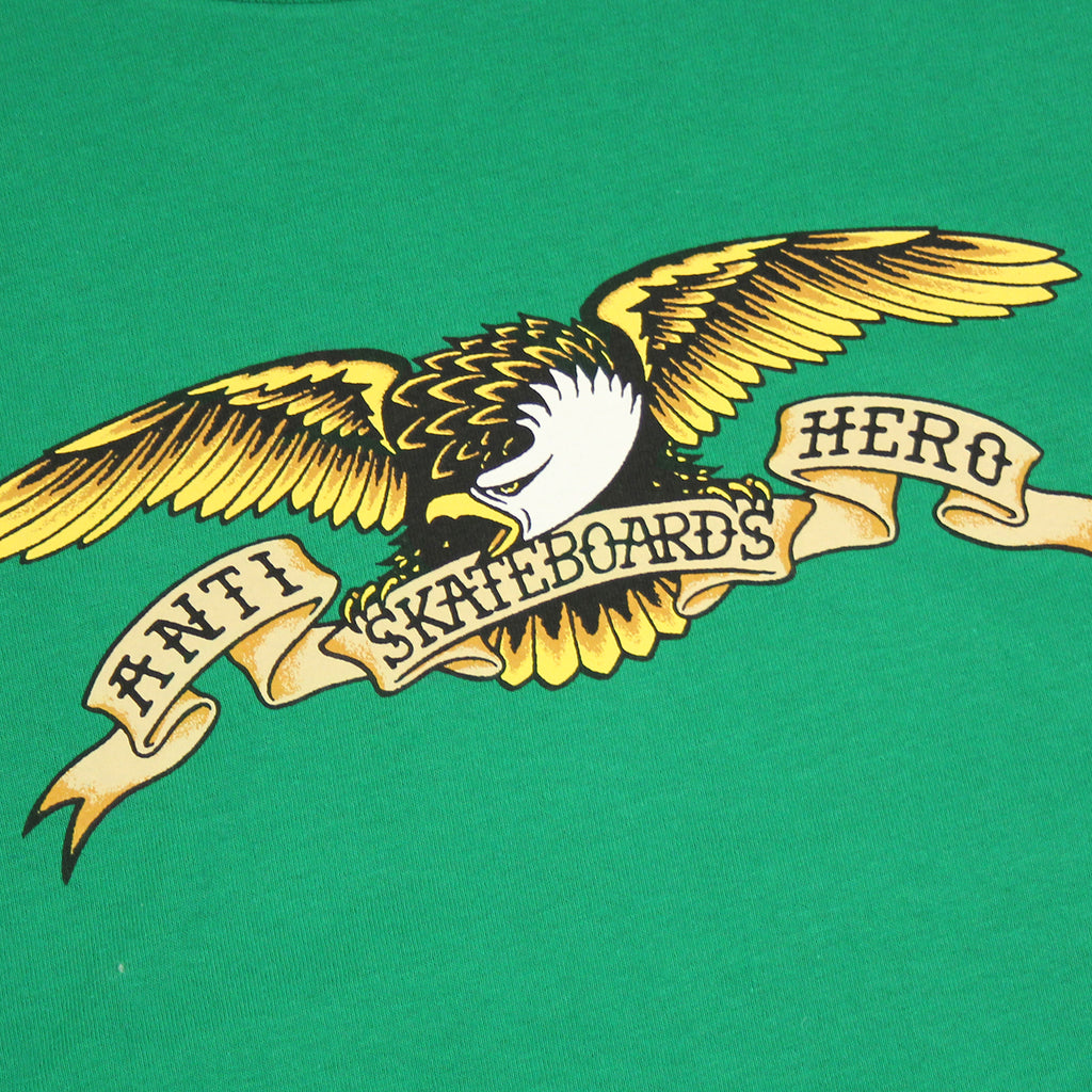 Anti Hero Skateboards Eagle L/S T Shirt in Kelly Green - Print