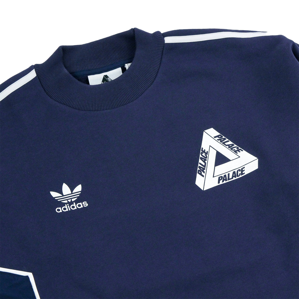 Palace x Adidas Crew Neck Sweatshirt in Night Indigo - Detail