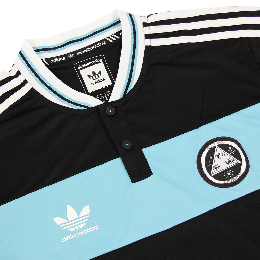 Adidas Skateboarding x Welcome Jersey in Black / Light Aqua - Detail