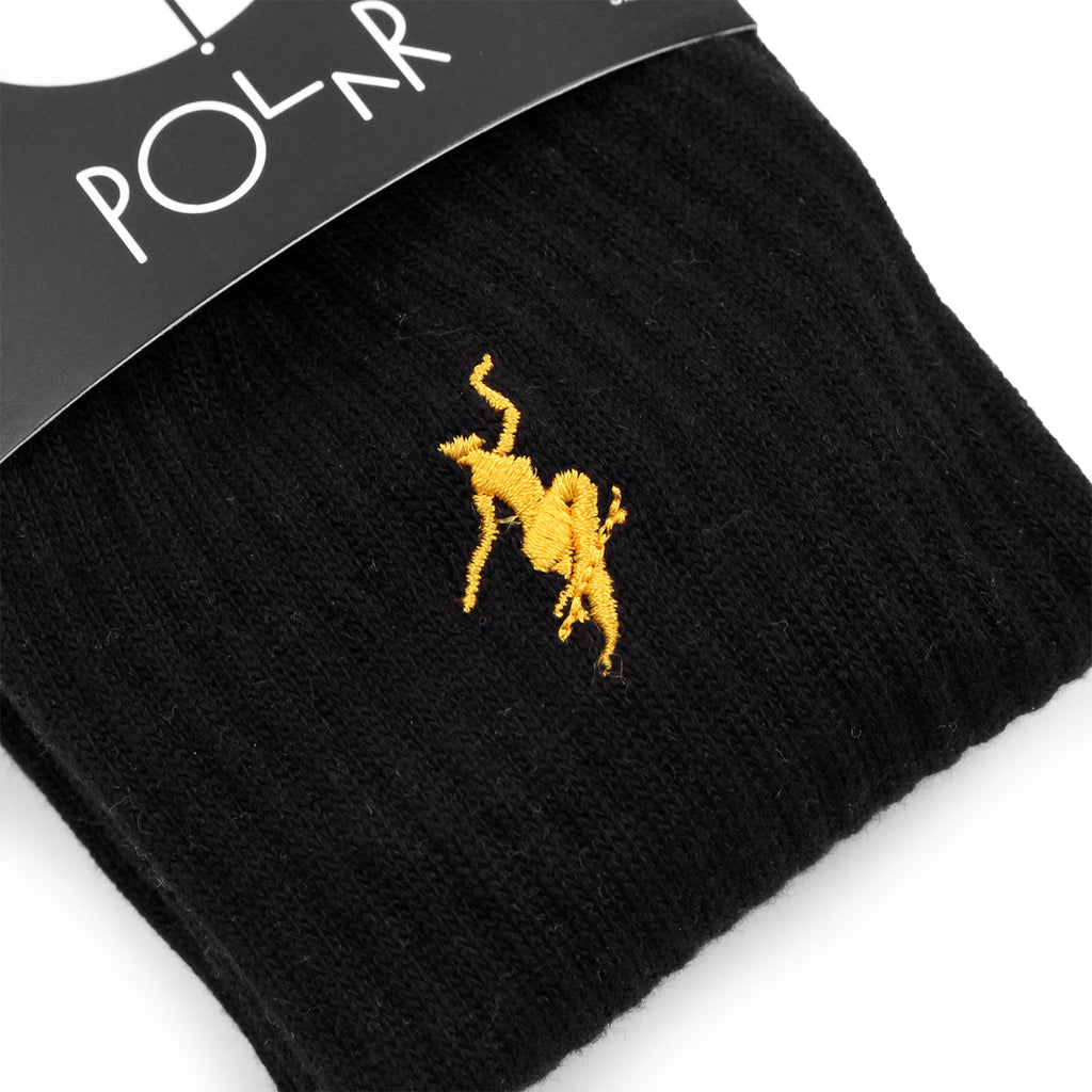 Polar Skate Co No Comply Socks in Black / Yellow - Detail