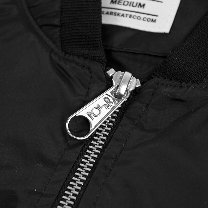 Polar Skate Co Fill Logo Chest Sporty Bomber in Black / Black - Zip