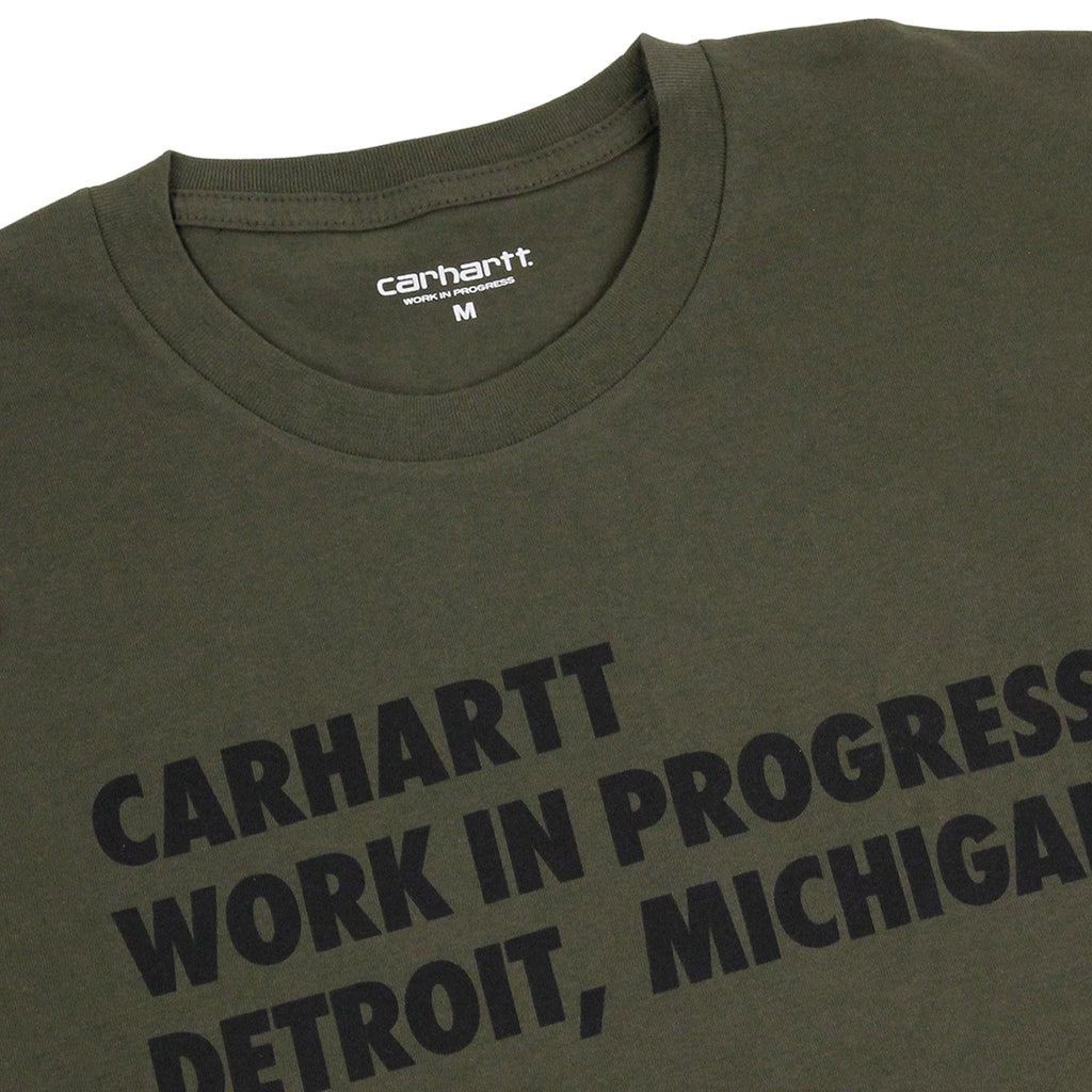 Carhartt S/S Bold Type T Shirt in Cypress / Black - Detail