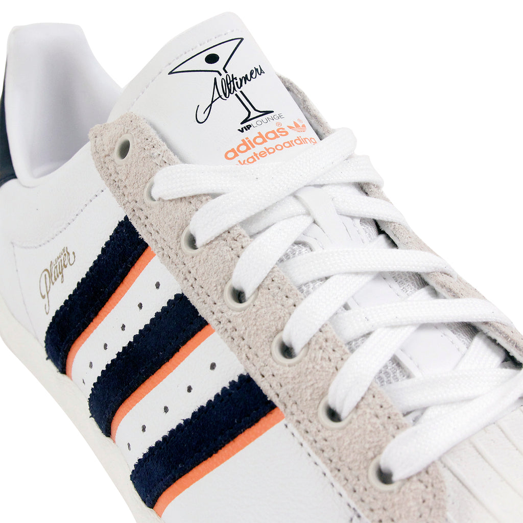 Adidas Skateboarding Superstar Vulc x Alltimers Shoes in FTW White / Collegiate Navy - Laces