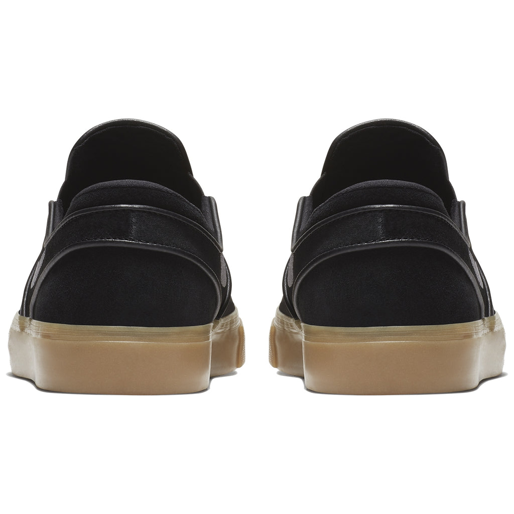 Nike SB Zoom Stefan Janoski Slip Shoes in Black / Gunsmoke - Gum Light Brown - Heel