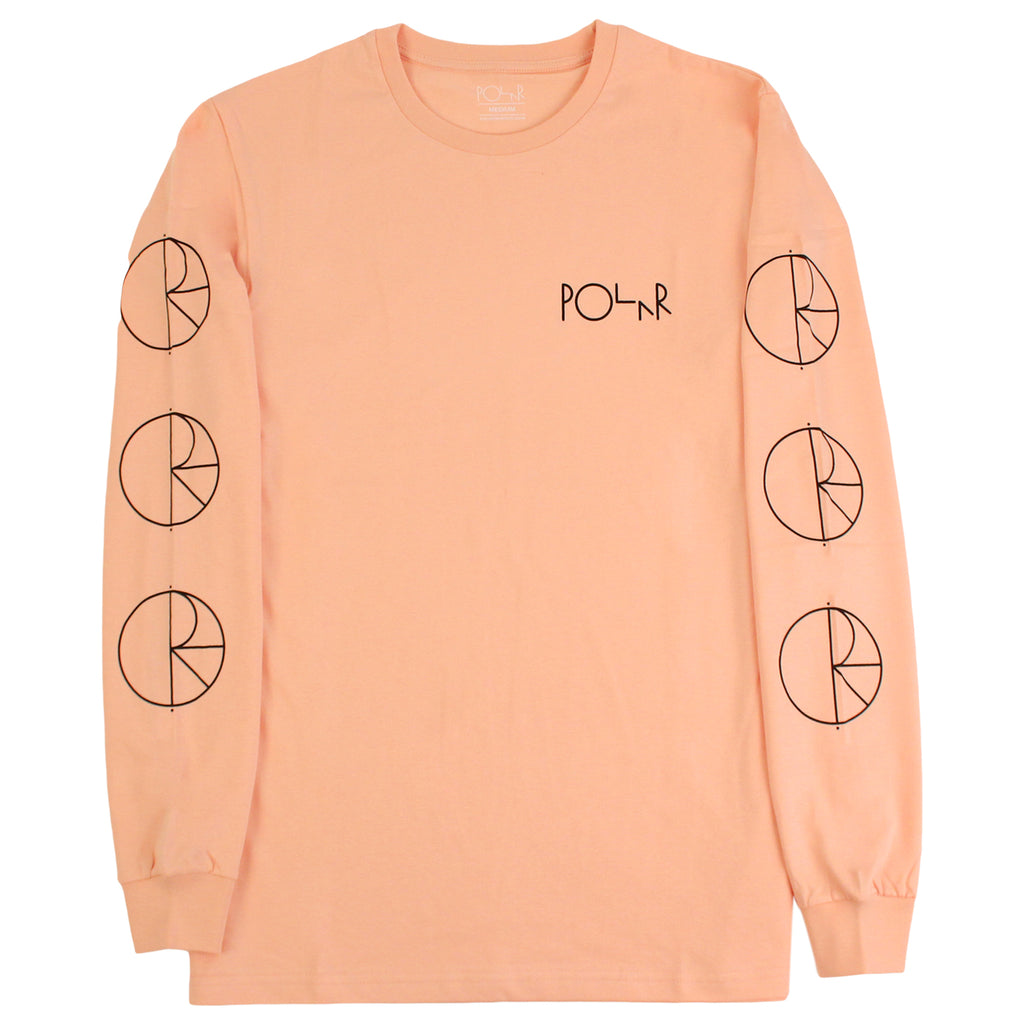Polar Skate Co Racing L/S T Shirt in Pastel Peach / Black - Sleeves
